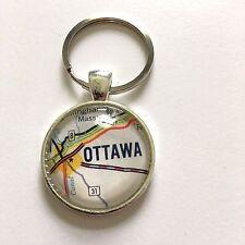 OTTAWA  BUCKINGHAM MASSON CANADA Map Key Ring Keychain Silver vntg ATLAS