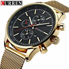 CURREN Men Quartz Watch Steel Gold Watches Business Male Calendar Wristwatches
