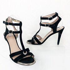 Stuart Weitzman Black Suede Double Ankle Strap Open Toe Buckle Heels Size 8.5