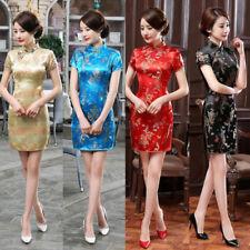 Ethnic Women Chinese Dragon Phoenix Stand Collar Slim Cheongsam Dress Deluxe