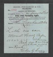 1898 HOOD FOULKROD & CO PHILADELPHIA PA BLUE BILLHEAD