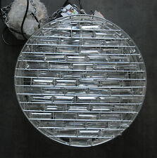 MODERN LARGE SILVER TONE CYLINDER CAGED  GEO PRISM CRYSTAL CEILING LAMP 40x19cm