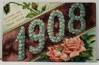 Happy New Year Embossed Flowers Broollyn NY to Waynesboro Pa Postcard D1