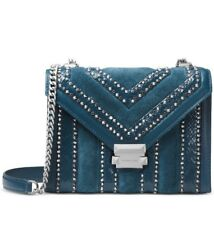 ❤️Michael Kors Whitney Teal/ Silver Large Mixed Media Convertible Shoulder Bag
