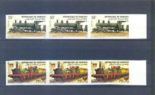 DJIBOUTI 1985  STRIP OF 3 TRAINS IMPERFORED   MNH