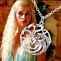 Collier Femme,Homme,Acier,Game of Thrones Targaryen Dragon,Chaine Longue,Mode,FR