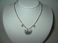 Vintage ART DECO Silvertone Clear & Aqua Rhinestone Choker Necklace Fancy Clasp