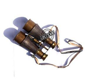 Vintage American Navy Brass & Leather Binocular Shoulder Strap Classic Mari