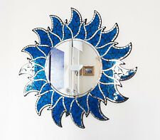 Blue sun shaped wall mirror 60cm-hand made in Bali-NEW