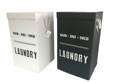 Laundry Baskets Folding Storage Box Hamper With Lid Black or White