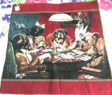 """Vintage Dogs Playing Cards Tapestry  26X26"""" Raw Edges New Old Stock"""