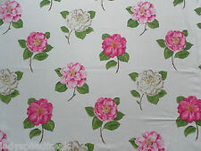 Sanderson Curtain Fabric Lamorna 1m Pink/ivory Cotton Floral Design 145cm Wide