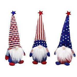 "3 New Patriotic Gnome Dolls 9"" Tall 4 of July Set Handmade"