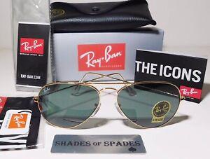 Original Ray Ban Aviator RB3025 L0205 UniSex Sunglasses Gold/Green 58mm G15 Lens