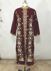 Vintage Long Red Velvet Coat Beaded Sequins Boho Glam Opera Hippie INDIA? S/8