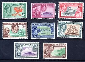 1940 PITCAIRN IS. GEORGE VI MAP SHIP SET OF 8 MINT HINGED