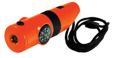 2pk 7-in-1 ORANGE Survival Whistle Compass Thermometer LED Flashlight Magnifier