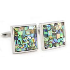ABALONE Shell Mosaic Gemelli in scatola regalo MARE QUADRATO VERDE PATTERN aj383 NUOVO