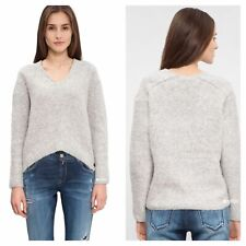 Replay Size M 12 Grey Soft Chunky Knit V Neck Slouchy JUMPER Winter Wool £100