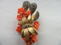 Vintage 1945 Patent #2383012 Gold Tone Multi-Color Rhinestone Flower Pin Brooch