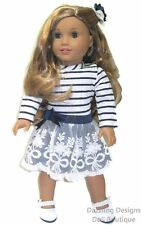 Navy & White Stripe Dress & Hair Bow Fits 18 Inch American Girl Doll Clothes