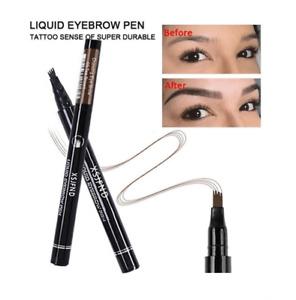 Waterproof 4 Fork Eyebrow Pen Pencil Eye Brow Eyeliner Natural Makeup Tea Brown