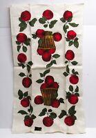 NOS Vintage KAY DEE Pure Linen Kitchen Towel Red Apples Tea Towel Basket Print