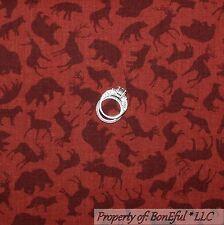 BonEful Fabric FQ Cotton Quilt VTG Red Bear Buck Deer Moose Fox Hunt Cabin Large