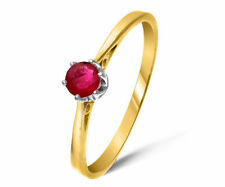 Engagement Solitaire Ruby Yellow Gold Fine Rings