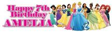 """2 PERSONALISED DISNEY PRINCESS BIRTHDAY BANNER 3ft - 36 """"x11"""" ANY AGE ANY NAME"""