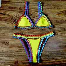 UK 2PCS Womens Bikini Beach Push-up Crochet  Bra Swimsuit Bohemia Bathing Suit