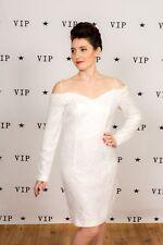 Vestido de boda 80s Vintage Del hombro Vestido de boda de encaje blanco de noche Roberta