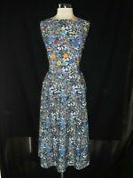 ESHAKTI Plus Size 1X Fit & Flare Dress Blue White Red Floral Sleeveless Long