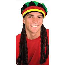 Rasta Hat & Dreadlocks Braids Funny Reggae Adult Jamaican Costume Accessory