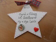 Mr & Mrs  first 1st personalised christmas tree decoration bauble