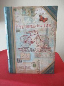 PUNCH STUDIO BIKE/TRAVEL THEMED HOLLOW FAUX BOOK SECRET KEEPSAKE STORAGE BOX