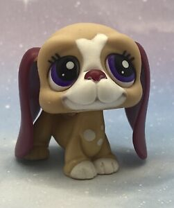 Littlest Pet Shop # 1785 Tan Burgundy White Basset Hound France Exclusive