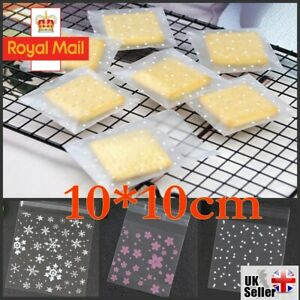 100PCS XMAS Cellophane Bags Party Cello Cookie Candy Biscuit Gift Bag 10*10cm UK