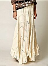Free People Anthropologie Ivory Victorian Eyelet Lace Ruffle Maxi Skirt S Rare