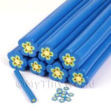 Dulces caña de Flor Azul Arte en Uñas y joyas Unc21