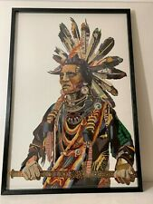 Native American Chief Large Paper Collage Pic Black Frame Unique Design 2019 NEW