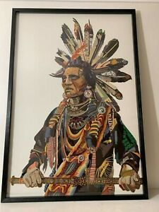 Native American Chief Large Paper Collage Pic Black Frame Unique Design 2019 NEW
