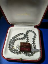 "Majorica Imitation Grey Pearl Strand 23"" Necklace- 925 gold plate clasp."