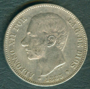 1885 Spain ALFONSO XII 5 pesetas Crown Size Silver Coin #A4