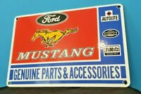 VINTAGE FORD AUTOMOBILE PORCELAIN GAS SERVICE MUSTANG PUMP PLATE AD METAL SIGN
