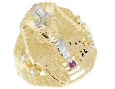 Mens Real 10K Yellow Gold Simulated Ruby Diamond Pharaoh Fashion Pinky Ring 27MM