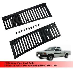 Finisher Wiper Cowl Vent Grille Set Fit For Nissan Navara D21 Pickup 1986 - 1992