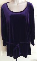 B.L.E.U. Purple Velvet Ruched Sleeve Stretch Blouse Tunic Top w/ Tie - Size M
