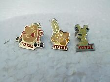 Job lot of 3 vintage Asterix the Gaul & Total petrol/oil metal lapel pins