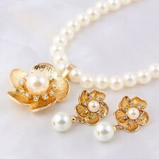 18K Gold Flower Pearl Necklace & Earring Set *UK*